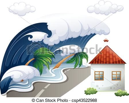 Tsunami scene with big waves and house illustration